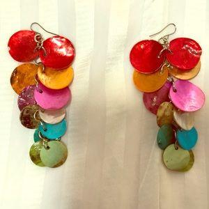 Jewelry - Rainbow Seashell Earrings For Pierced Ears.